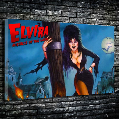 "Elvira: Mistress of the Dark Printed Canvas A1.30""x20""~Deep 30mm Frame."