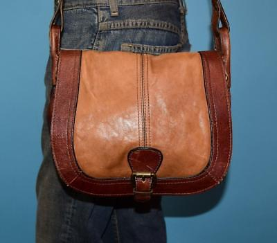 84b887ad7483 FOSSIL VINTAGE REISSUE Brown Leather Saddle Flap Cross-body Messenger Purse  Bag