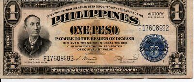 Commonwealth Of The Philippines One Peso Note WWII Victory Series No. 66