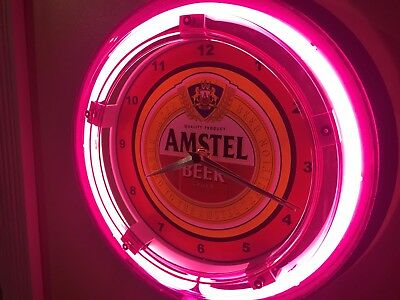 Amstel Beer Bar Advertising Man Cave Neon Wall Clock Sign