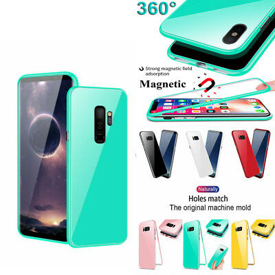 For Samsung Galaxy Note 9 S9 + 360 Magnetic Adsorption Case Tempered Glass Cover