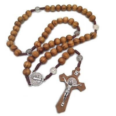 Chic Catholic Wood Rosary Handmade Wooden Cross Necklace Religious Ornaments Ylu