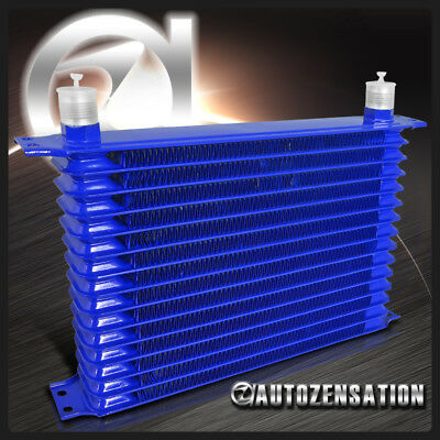 15 Row 10AN Engine Transmission Oil Cooler Blue Aluminum