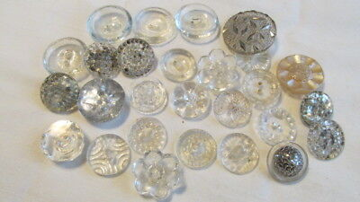 lot 28 Clear Glass Vintage Buttons Med to Large Many Designs B61