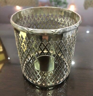 Antique R Wallace & Sons Sterling Silver Reticulated Bottle/Pencil/Candle Holder