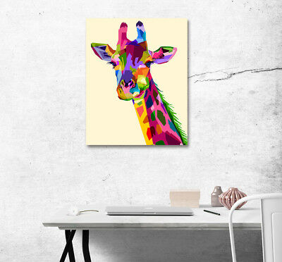 """16X20"""" Art Poster Print Wall Decor Canvas Painting With Frame Colorful Giraffe"""