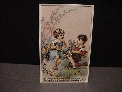 Vintage Victorian TRADE CARD: PEARLINE SOAP w/Cute Boy and Girl Outside