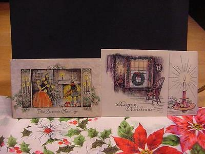 Vintage c1930s Lot of 2 Folder CHRISTMAS Cards: Lovely INDOOR SCENES w/Candles