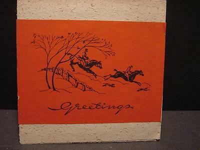 Vintage 1940s Folder Christmas Card:RIDING TO HOUNDS-Tipped-in Illus to Front