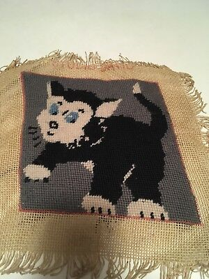 Vintage Studio David Cat Completed Tapestry Canvas Cute Craft Project