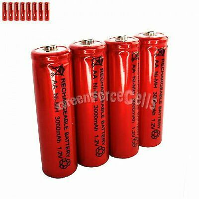 8 pcs AA LR06 3000mAh 1.2V NI-MH rechargeable battery CELL/RC MP3 2A SILVER RED