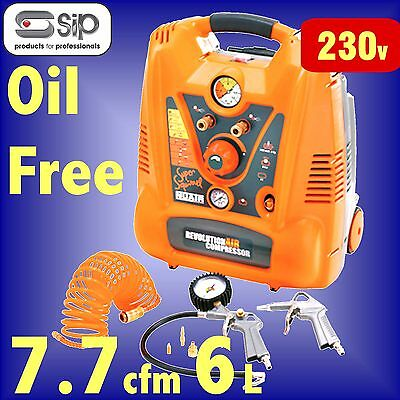 SIP 05293 SUPER SQUIRREL 2hp 6 Litre OIL FREE PORTABLE AIR COMPRESSOR 6L 7.7cfm
