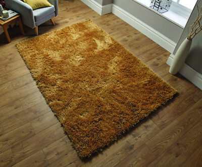 Modern Ochre Yellow Cosy Shaggy Rugs Soft Thick Furry Shimmer Living Room Rug UK