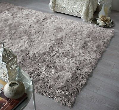 Modern Grey Silver Cosy Shaggy Rugs Soft Thick Furry Shimmer Living Room Rug UK