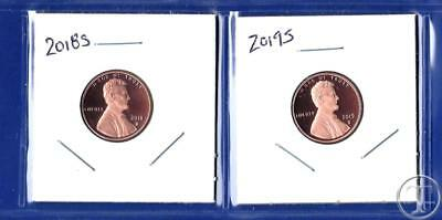 2018 S AND  2019 S Proof Lincoln Cents Penny-Gem Proof-TWO Proof Pennies
