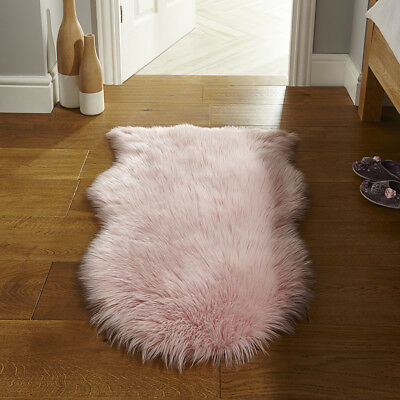 Super Thick Non Shed Baby Pink Shaggy Rug Faux Fur Cosy Beside Sheepskin Mats