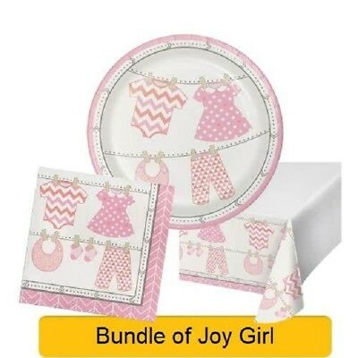 BUNDLE OF JOY New Baby Shower GIRL Party Range Tableware Supplies(1C)Decorations