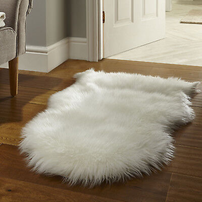 Super Thick Non Shed Cream Ivory Shaggy Rug Faux Fur Cosy Beside Sheepskin Mat