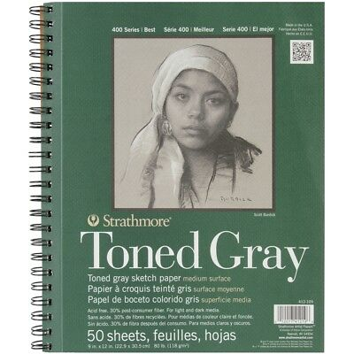 """Strathmore Toned Sketch Spiral Paper Pad 9""""x12""""-gray 50 Sheets"""