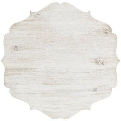 "Cake Stand Large Wood W/galvinized Edge 11.8""x11.8""x9.4""h-white"