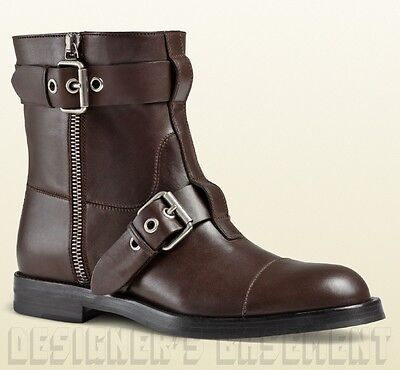 ef019c585a8 GUCCI mens 10.5G  brown leather SEVENTY buckles   zippers BIKER boots NIB  Authen