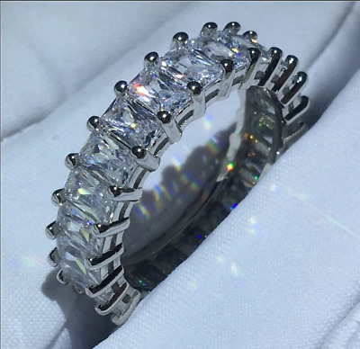 8Ct Emerald Cut Diamond Vintage Eternity Band Ring Solid 14K White Gold Finish