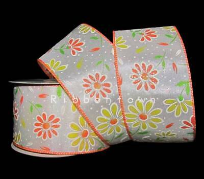 25 Feet Orange Yellow Green Daisy Flowers Iridescent Glitter Wired Ribbon 2 1/2""