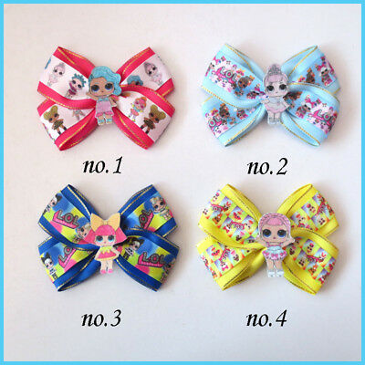 """20 BLESSING Girl 4.5"""" Two Tone Angel Hair Bow Clip L.O.L Doll Rainbow Baby"""