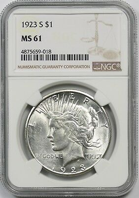 1923-S $1 NGC MS 61 Peace Silver Dollar
