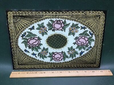 NOS Vtg Eglomise Reverse Painted Clock Glass for Antique Clock ~ Roses Flowers