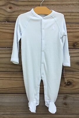 NWT Ralph Lauren Infant Boys Blue Footed Coverall Sleeper Size 9 Months