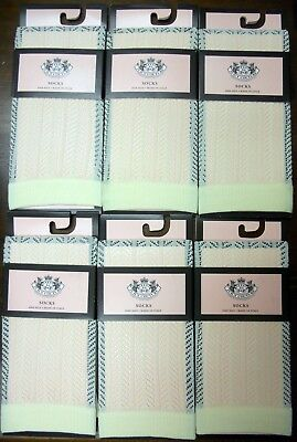 ea52312fac3 NWT 6 pairs ladies JUICY COUTURE Clotted Cream KNEE high SOCKS - ONE SIZE o