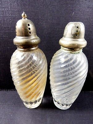 Vintage Japan Clear Glass Swirl Design Round Salt & Pepper Shakers