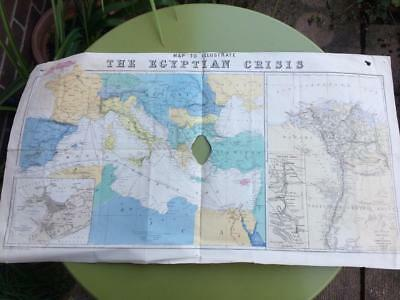 Vintage Map To Illustrate The Egyptian Crisis showing the Mediterranian, Alexand