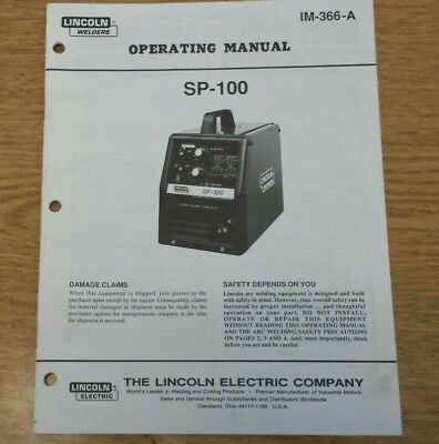 Lincoln Electric SP100 Operating Manual IM-366-A (A1)