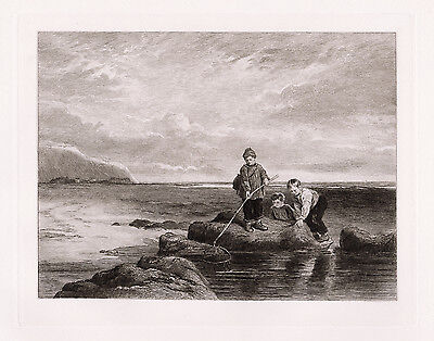 "Magnificent 1800s WILLIAM COLLINS Etching ""Children Prawn Fishing"" Framed COA"