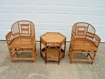 3 Pc. Set - 2 Vintage Mid Century Bamboo Rattan Chinese Chippendale Chairs & Tab