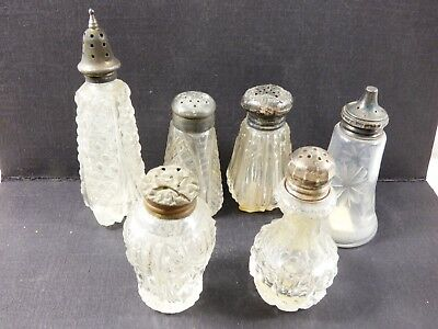 Vtg Antique Mix Lot Of 6 Clear Cut Crystal Salt & Pepper Shakers 3 Sterling Tops