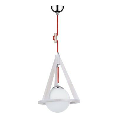 "Paris Prix - Lampe Suspension Globe ""konan Ii"" 100cm Chêne Blanc & Rouge"