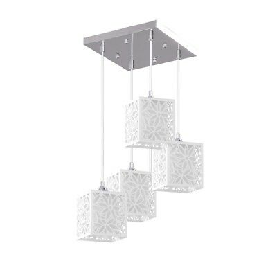 "Paris Prix - Lampe Suspension 4 Têtes Design ""anika"" 33cm Blanc"