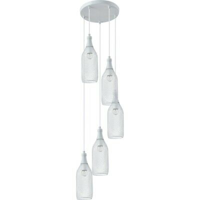 "Paris Prix - Lampe Suspension 5 Têtes ""barla"" 36cm Blanc"