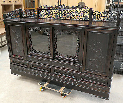 Vintage Wood Cabinet Display Chest Decorative Carvings Chinese 1950s  #199