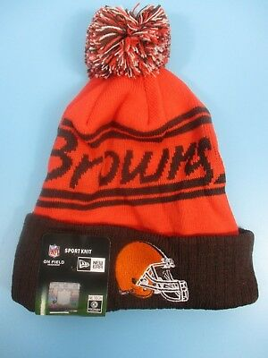 new style 68288 204c7 CLEVELAND BROWNS - New Era - Knit Winter Hat (Fold UP Style with Pom Pom