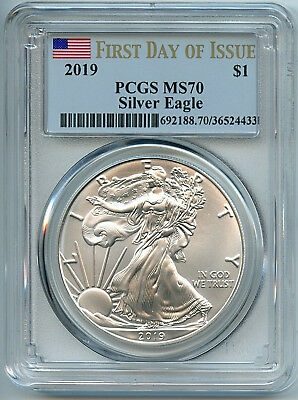 2019 Silver Eagle Dollar PCGS MS70 Coin 1st Day Issue Flag Label ASE FDI