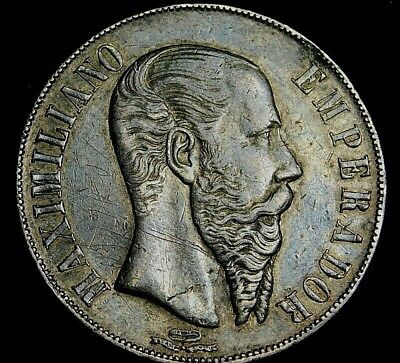 Mexico 1866 Maximillan Empire Peso Coin is Darker than Pictures A35-221