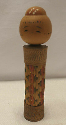 Kokeshi Creative Style Wooden Japanese Doll Vintage Ratten Cane #545
