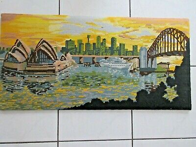 Craft Tapestry Completed Framed Picture Opera House Sydney Harbour Bridge