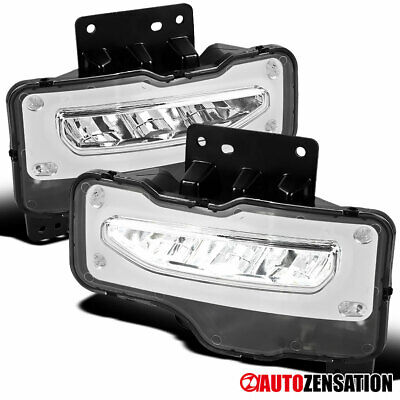 16-18 GMC Sierra 1500 Pickup Front Clear LED Driving Bumper Fog Lights w/ Switch