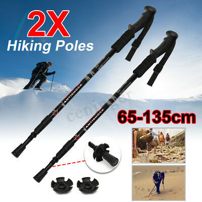 2x Trekking Hiking Poles Walking Stick Anti Shock Camping High Quality