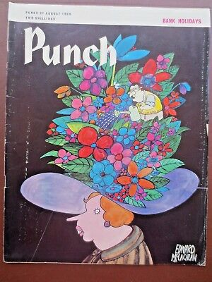 Vintage PUNCH Magazine 27 August 1969 BANK HOLIDAYS 1960s RETRO Adverts